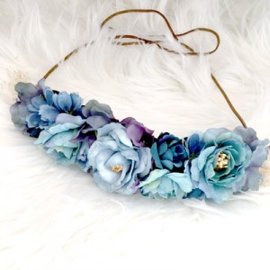 blue silk floral womens hair accessory