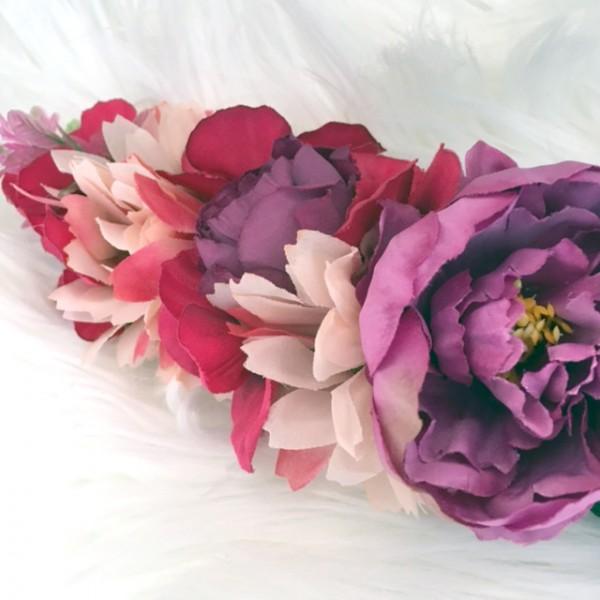 hot pink flower headband womens
