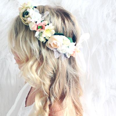 wedding kids floral fake flowers hair