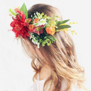 red leafy womens wedding floral crown