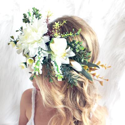 womens fake white boho floral crown Australia
