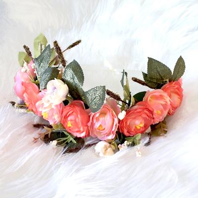 coral rose summer floral hair crown