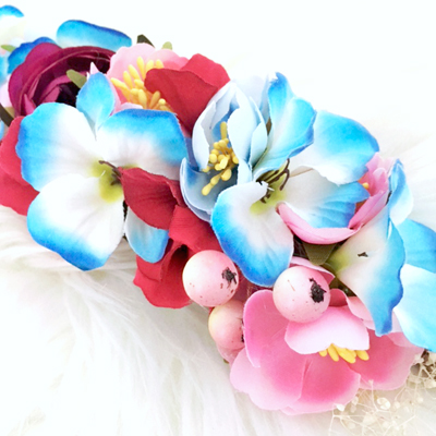 flower tieback pink blue womens