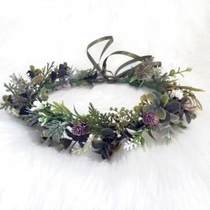 greenery floral silk crown