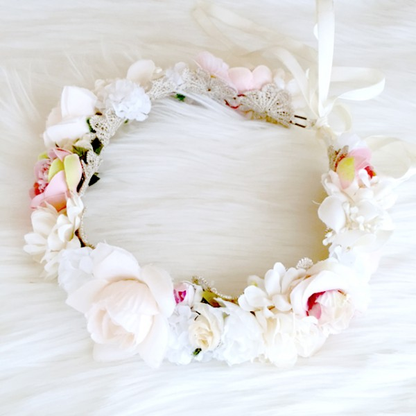 baby flower crown wedding ivory