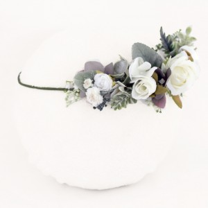 white leafy boho wedding crown