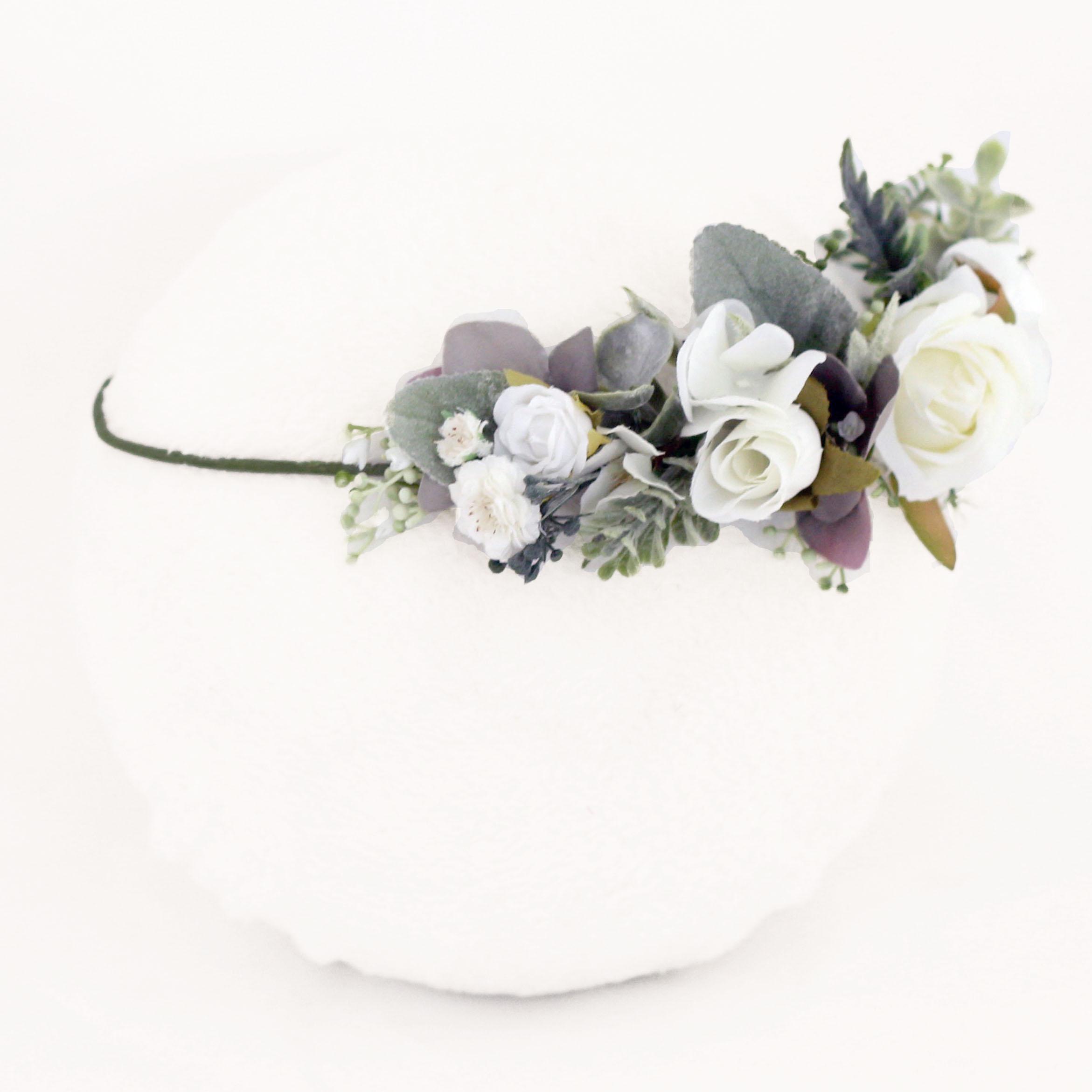 white leafy boho wedding crown