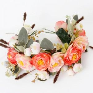 bohemian coral hair flowers