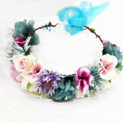 bright colour floral crown