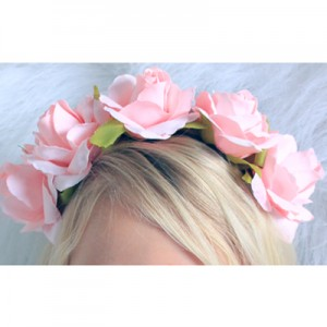 girls womens pink floral headband hard