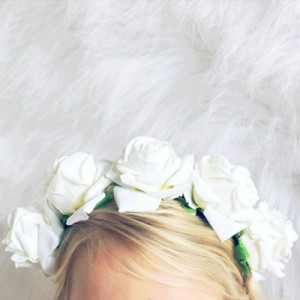 white rose flower hard headband fashion