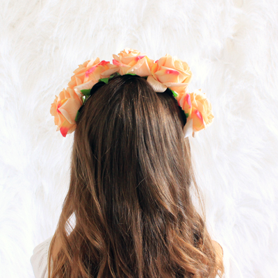 peach floral hair band