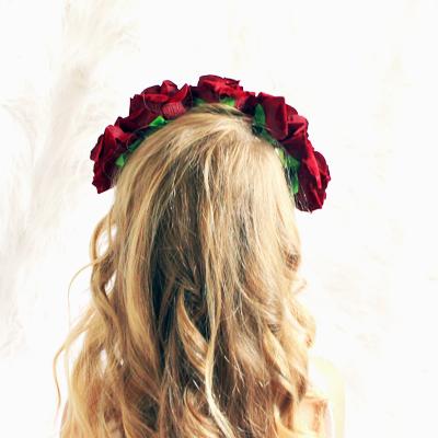 Burgundy rose floral head piece