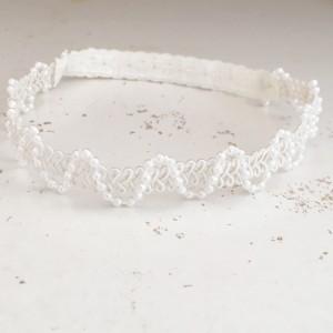 pearl lace baby girl headband