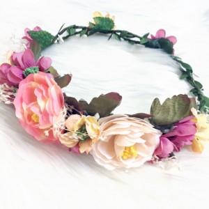 silk hair flowers peach