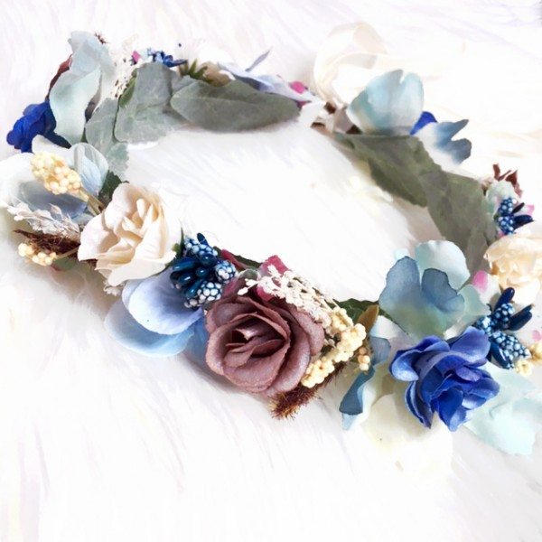 hair wreath silk blue