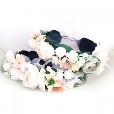 artificial floral crown wedding peach