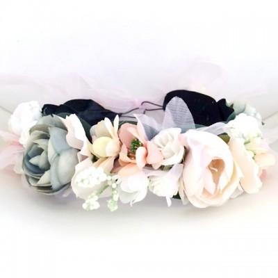 womens floral peach sage fake crown