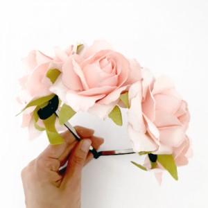 party headband pink roses
