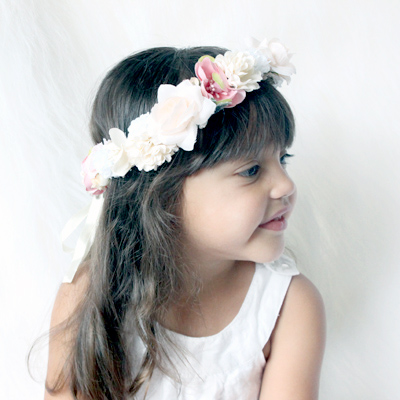 peach silk flowers headband