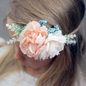 event peach floral headband