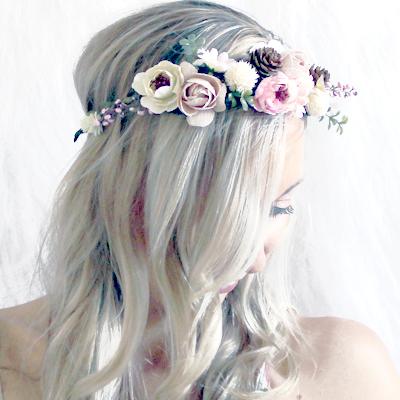 pink nude floral faux crown Melbourne