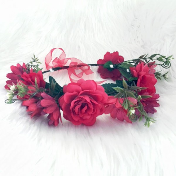 red fashion floral wreath hair