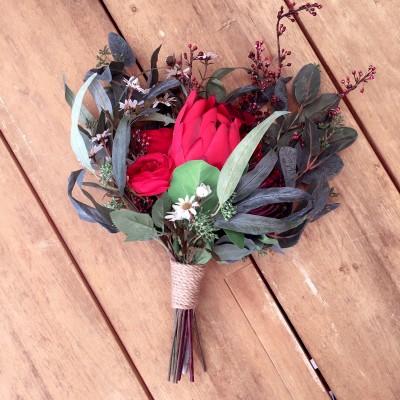 silk flower red bouquet