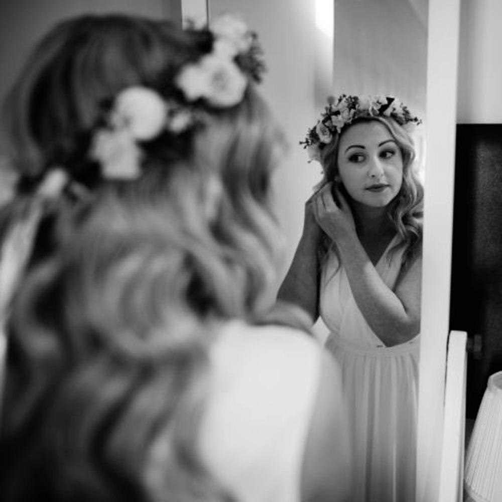 ivory leafy floral crown bride hair