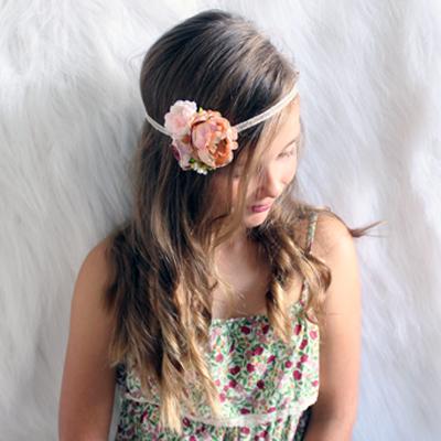 brown blush headband flowers Australia