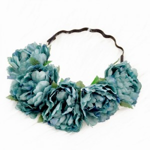 silk floral green headband