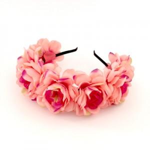 silk floral coral pink headbands