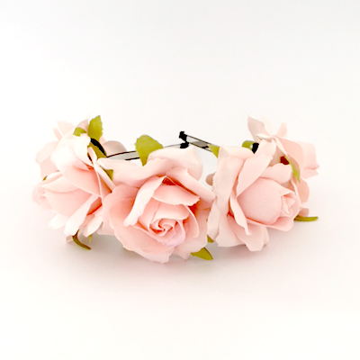 party headband pink roses