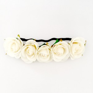 faux flower headband white