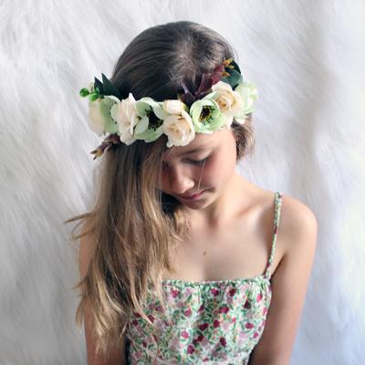 green boho floral crown