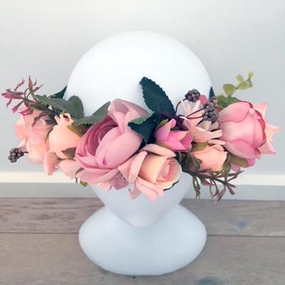 gypsy pink leaf flower crown