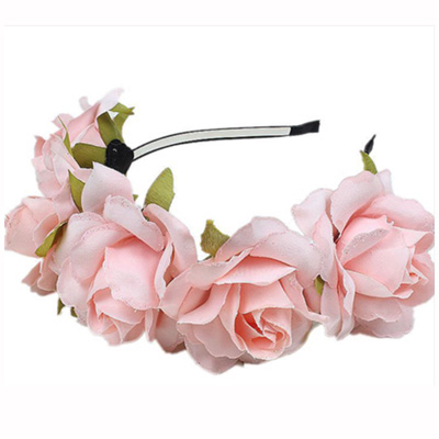 head band pink faux flower