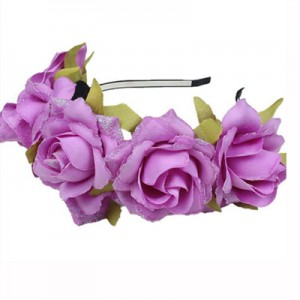 fake rose headband purple