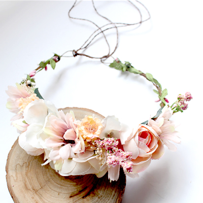 pink peach outdoor wedding faux floral crown