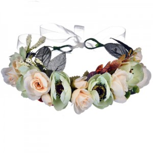 green silk fake flower crown