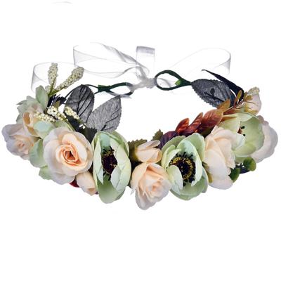 green silk fake flower crown