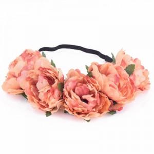 rust peony headpiece silk rose