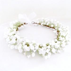 bridal flower girl white crown flowers hair