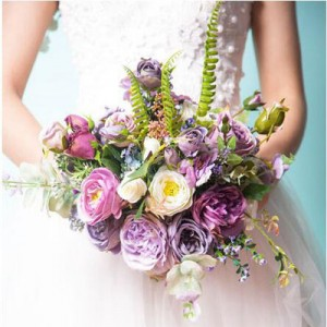purple peony bush bouquet silk