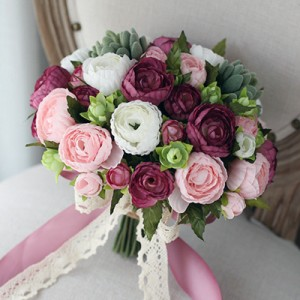 bridal pink fake flower bouquet real