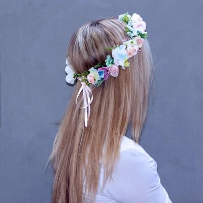 silk flower pastel rainbow crown
