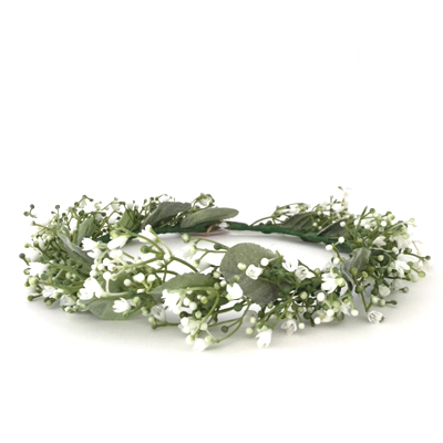 silk babys breath bridal flower girl crown
