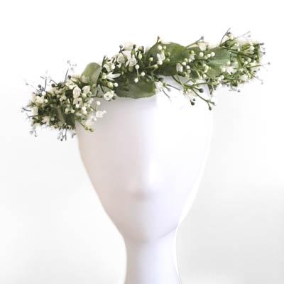 headband bridal white leafy foliage