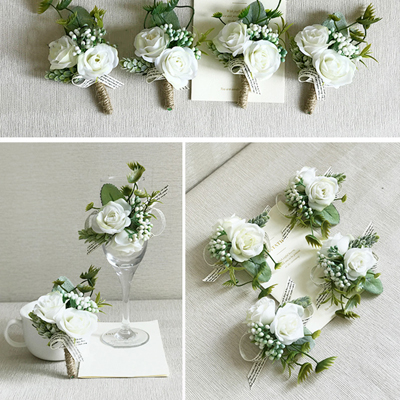 silk flower white groomsmen