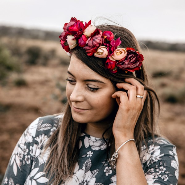 headpiece womens floral red